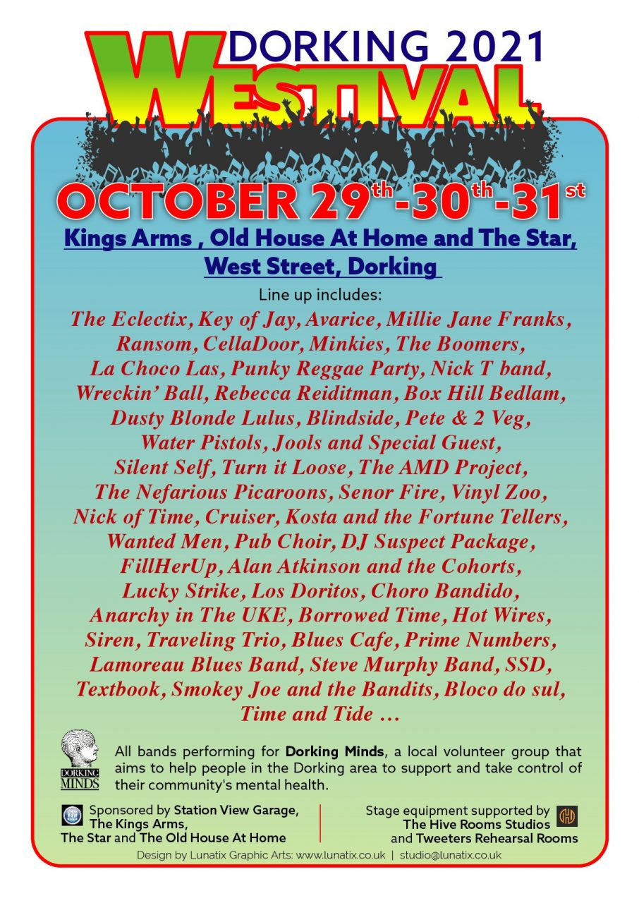 Dorking 2021 Westival Poster - listing all the bands performing on 29th, 30th and 31st October